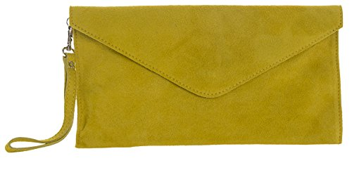 BHBS Bolso para Dama tipo Sobre de mano en Cuero Gamuzado Italiano Auténtico 30.5 x 16 cm (LxA) Mustard Yellow (PL315)