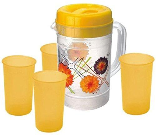 Juego de jarra con 4 vasos naranja: Amazon.es: Hogar