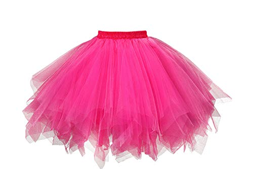 Musever 1950s Vintage Ballet Bubble Skirt Tulle Petticoat Puffy Tutu Fuchsia XX-Large/XXX-Large