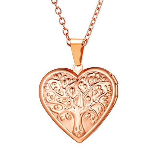 (U7 Women Girls TE AMO I Love You Heart Photo Locket Pendant Rose Gold Plated Tree of Life Necklace with Rolo Chain 22 Inch, Wedding/Mother's Day/Birthday Gift)