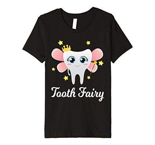 Tooth Fairy Costume Kids (Kids Tooth Fairy Premium TShirt Funny Halloween Costume Gift Kids 8 Black)
