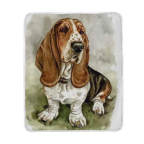 Basset Hound Throw Blanket Soft Warm Cozy Bed Couch Lightweight Polyester Microfiber Size 50