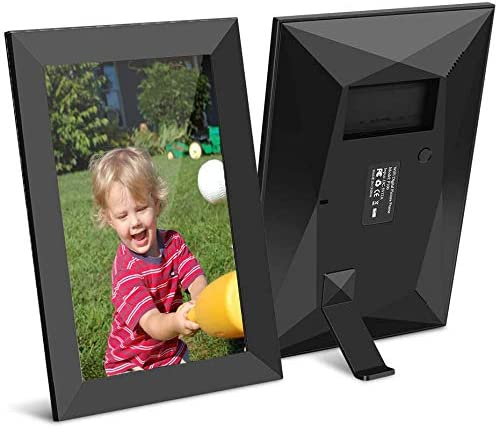 JHZL 10.1 Inch 16GB Smart WiFi Cloud Digital Picture Frame with 800×1280 IPS LCD Panel,Danish Design Frameo App Photos from Anywhere Send, Touch Screen, Portrait and Landscape Black