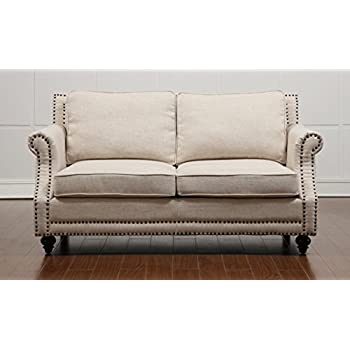 tov furniture the camden collection linen upholstered living room loveseat with nailhead trim beige - Tov Furniture