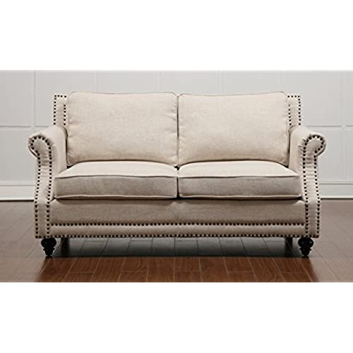 TOV Furniture The Camden Collection Contemporary Linen Upholstered Living  Room Loveseat With Nailhead Trim, Beige