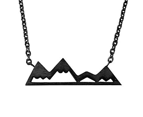 Altitude Boutique Snowy Mountain Necklace for Women Nature Lovers, Skiers, Hikers Campers (Carbon (Mountain Necklace)