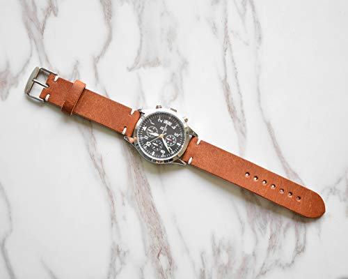 Custom Watch Strap Leather Old Brown Top Grain Vintage Vegetable tanned 18mm 20mm 22mm 24mm Band