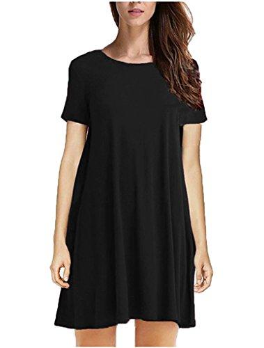 Tooklanet Women's Long Sleeve O-Neck Casual Loose T-Shirt Dress
