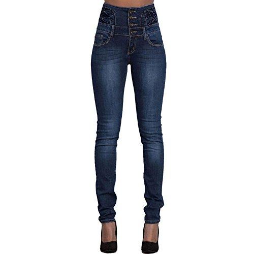 CHIYEEE Jeans Vita Alta da Donna Pantaloni Denim Vestibilit