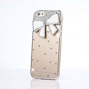 LG G2 Funda, Sense-TE Lujo 3D Cubierta para Hecho a Mano del Brillo del Rhinestone Del Diamante de Crystal Case Caso y Retro Bowknot Enchufe Anti Del Polvo - Bow / Blanco