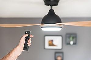 Ventilador de techo con luz LED regulable Bayu, de bajo consumo, con mando a distancia, 122cm, muy silencioso [clase ...