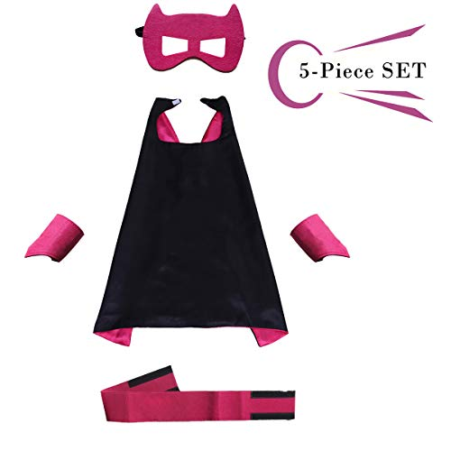 Superhero Dress Capes Set for Kids - Child DIY Superhero Themed Birthday Halloween Party Dress up 5-Pack Set