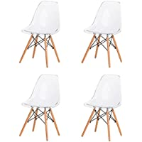 Eames Eiffel DSW Style Side Dining Chair - Clear, Set of 4