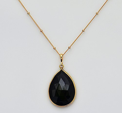 Large Natural Black Onyx Gemstone Necklace, Large Black Gemstone Necklace, Pear Shape Black Onyx, 18x25mm Teardrop Pendant Necklace Black Onyx With Vermeil Necklace
