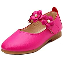 PPXID Girl's Sweet Flower Soft Sole Princess Shoes School Wearing Shoes