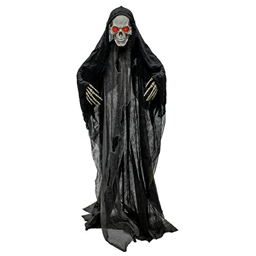 Halloween Haunters Standing Life Size 6 Foot Skeleton Reaper Evil Red Flashing Eyes Prop Decoration