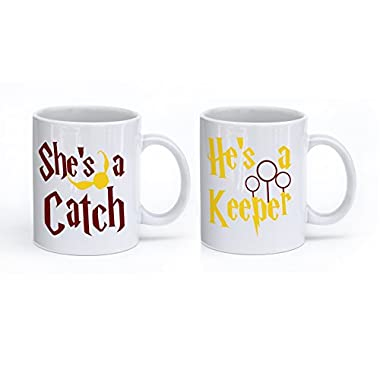 She's a Catch and He's a Keeper - Funny Inspirational Mugs - 11 Oz Coffee Mugs - Couple Mugs