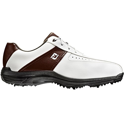 FootJoy CLOSEOUT GreenJoys Men's Golf Shoes White/Brown (9.5 D(M) US)