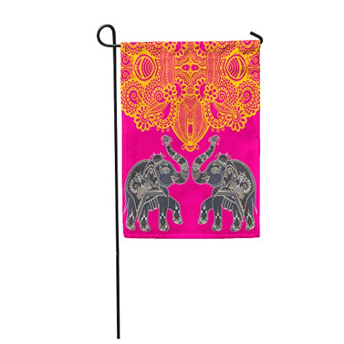 Semtomn Garden Flag Original Indian Pattern Two Elephants Page Ethnic Border 12