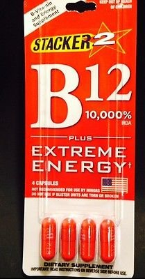 NEW! FACTORY SEALED B12 Blister PacksBy Stacker Extreme Energy 12 Capsules 10,000 rda