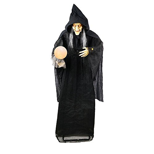 Halloween Lifesize 6' Animated Standing Witch with Glowing Orb