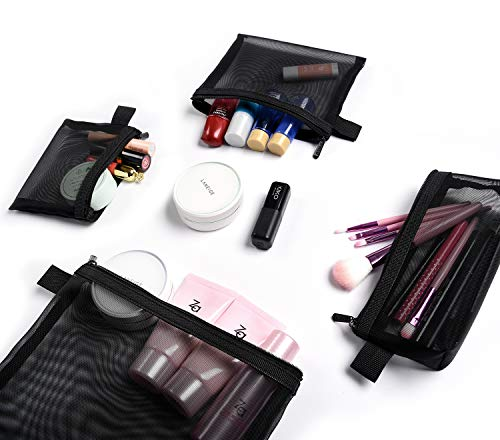 S Kits Puppet - Patu Zipper Mesh Bags, Pack of 4 (S/M/L & Pencil Pouch), Beauty Makeup Cosmetic Accessories Organizer, Travel Toiletry Kit Set Storage Case, Black