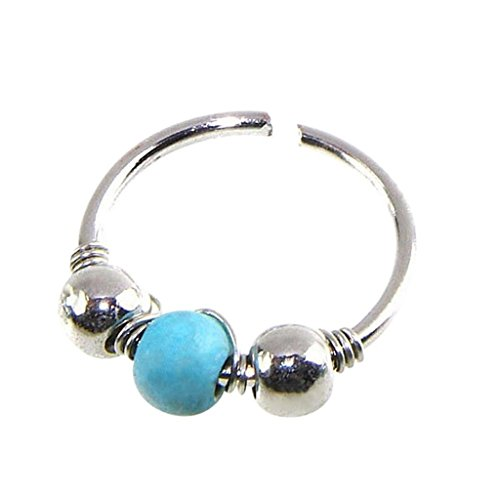 Creazrise Fashion Turquoise Earrings Stainless Steel Nose Ring Round Hoop Nostril Jewelry (B)