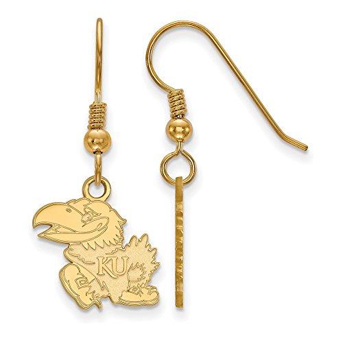 Sterling Silver w/ 14K Yellow Gold-Plated LogoArt Official Licensed Collegiate University of Kansas (KU) Small Dangle Earrings by LogoArt