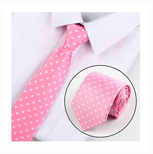 Men's Pink White Polka Dot Silk Jacquard Woven Self Cravat Tie Necktie - Necktie Accessories