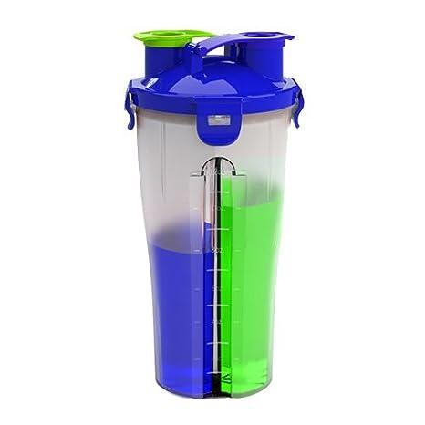 Dual amenaza Shaker Bottle Proteína Mixer Copa de agua con doble ...