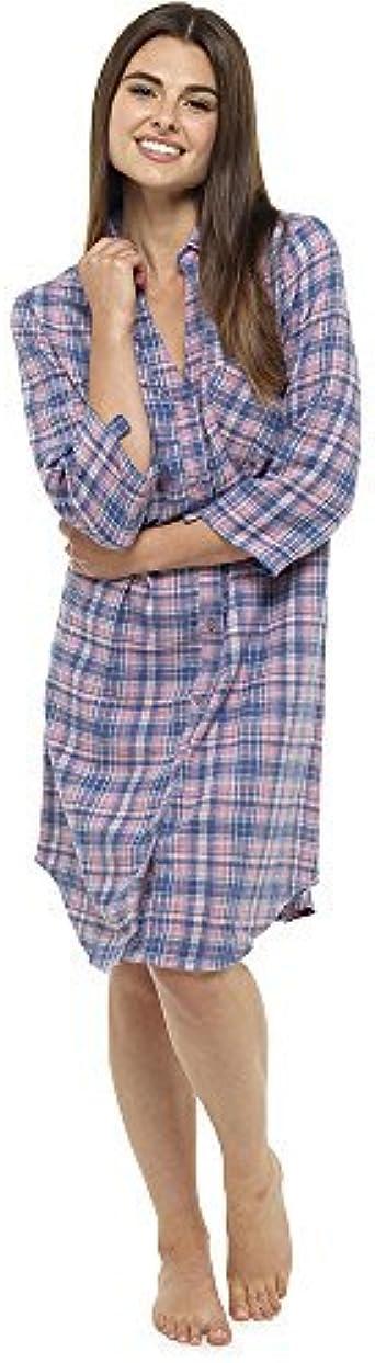 Get The Trend Mujer PERCHADO Franela Camisón Mujer Estampado a Cuadros Tartán Camisón Camisa Barato