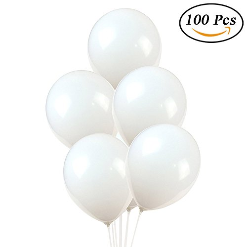 RJWKAZ 100 Pack Premium Quality Balloons 12 inch White Thicken Pearlescent Latex Balloons (White) -