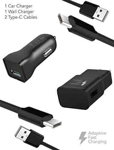 Samsung Note 8 / S8 / S8 Plus Adaptive Fast Charger Type-C 2.0 Cable Kit by Ixir - {Wall Charger + Car Charger + 2 Cables} Adaptive Fast Charging uses dual voltages for up to 50% faster charging!