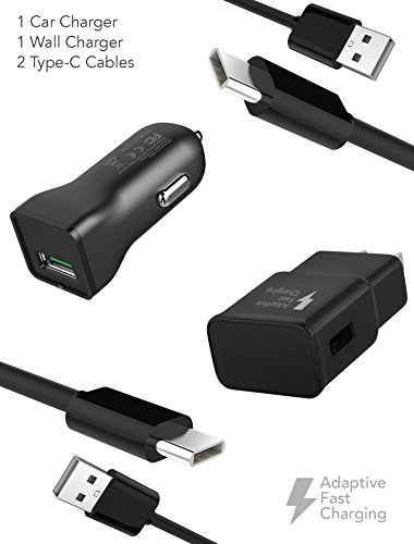 Car Charger Cable Kits (Samsung Note 8 / S8 / S8 Plus Adaptive Fast Charger Type-C 2.0 Cable Kit by Ixir - {Wall Charger + Car Charger + 2 Cables} Adaptive Fast Charging uses dual voltages for up to 50% faster charging!)