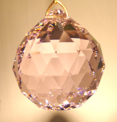 (Swarvoski Strass Crystal 20mm Faceted Ball Prism - Rosaline)