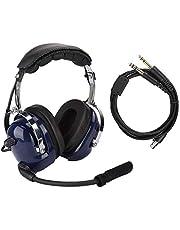 Aviation headset, algemene aviation headset, pilotenhoofdtelefoon met twee stekkers, 3,5 mm headset voor ruisonderdrukking voor piloten