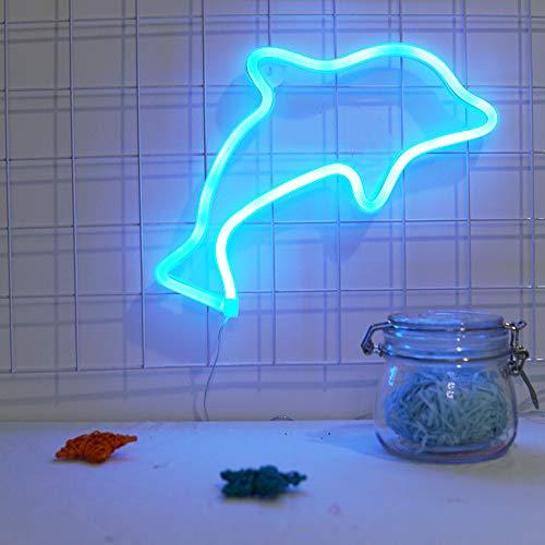 - Neon Tube Dolphin Luminous Blue Color Night Light Led Desk Table Lamp Children's Girl Kid Room Decor Night Light Bar Atmosphere Light Dormitory Room Decoration Props
