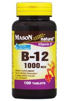 Mason Natural Vitamin B-12, 1000mcg, 100 Tablets Per Bottle (Pack of 7)
