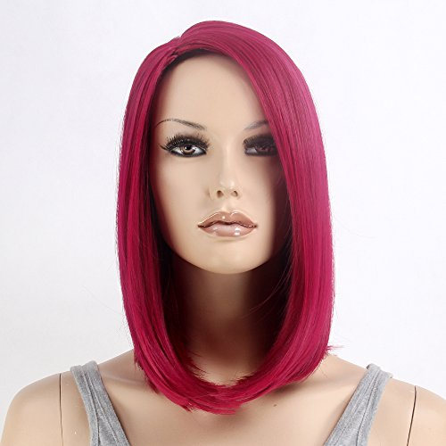 Stfantasy Wigs for Women Cosplay Costume Short Straight Synthetic Bob Style Peluca 14 Inch 180g w/ free Wig Cap and Clips, Wine (Red Delicious Wig)