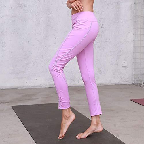 Leggings Alta Pantalones Ocio Impreso de Mujer de Cordón Estilo Jeans Yoga Cintura Fitness de de Boho Pantalones Reflexivo Pantalón Cintura Rosado Vaqueros ASHOP A1qxxa