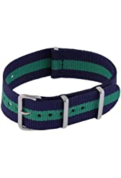 Neewer® Green & Blue Stripes 20mm Thread Woven Nylon Replacement Wrist Watch Band Strap with Metal Buckle and Keeper