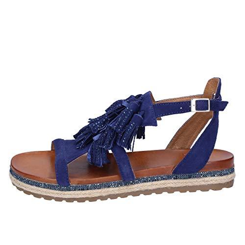 Scamosciata Plus Sandali Pelle Femme Blu Donna OSBqx6w