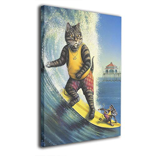 customgogo Surf Cat Art Hand Painted Oil Painting Abstract Canvas Wall Art Modern Style for Living Room,Dinning Room Home Decor None Framed Stretched Ready to - Hand Painted Decor Surf