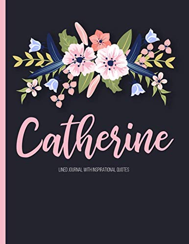 Catherine: Personalized Floral Journal with Pink Gold Lettering, Name/Initials 8.5x11, Lined Journal