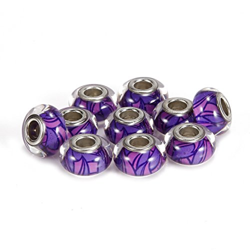 BRCbeads 10Pcs Silver Plate Purple Color Epoxy Enamel Murano Lampwork European Glass Crystal Charms Beads Spacers Fit Troll Chamilia Carlo Biagi Zable Snake Chain Bracelets. (Lampwork Large Bead)