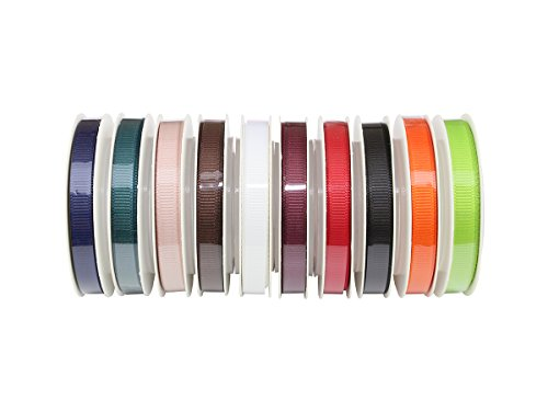(ITIsparkle Solid Grosgrain Ribbon Assortment, 10 Colors 1/4