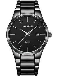 Watches,Men's Black Watch,Stainless Steel Classic Luxury Quartz Analog Wrist Watch With Date Calendar Window