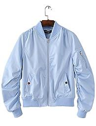 Season Show Womens Flight Jacket Lightweight Classic Outerwear Bomber Jacket Blue S