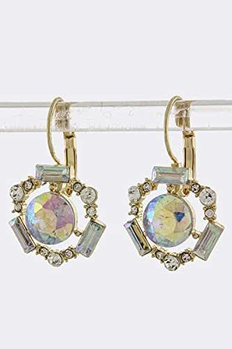 TRENDY FASHION JEWELRY ROUND CRYSTAL FRAMED EARRINGS BY FASHION DESTINATION