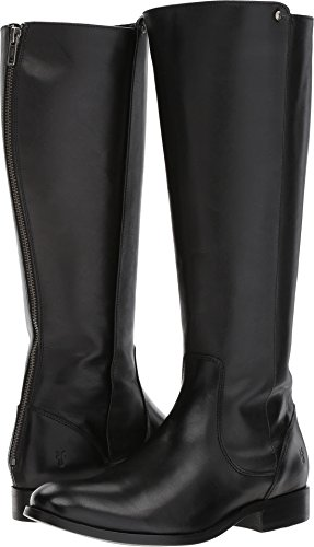 FRYE Women's Melissa Stud Back Zip Riding Boot, Black Smooth Vintage Leather, 9 M US